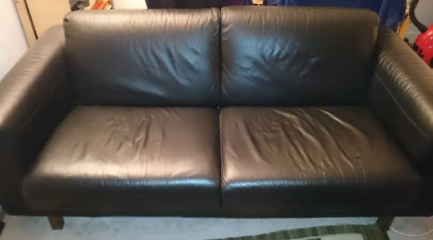 Vintage Habitat Black Leather Sofa for sale