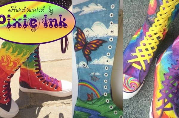 July Special Offer on Hand Painted Boots by Pixie Ink
