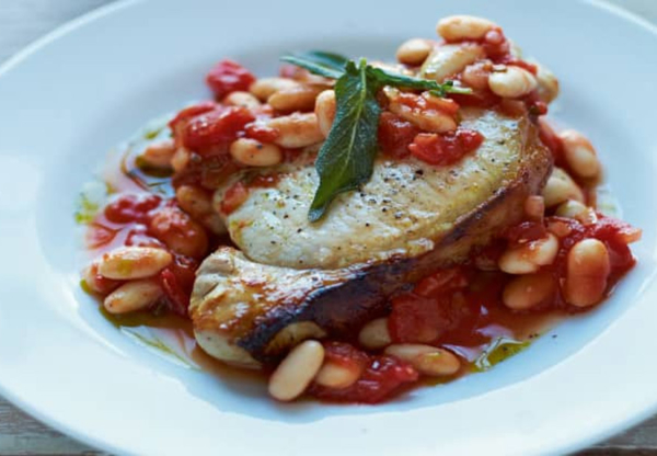 Pork Steaks with Tuscan Beans