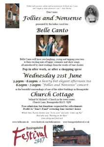 """Belle Canto concert """"Follies and Nonsense"""" @ Church Cottage 