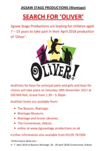 Jigsaw Wantage is auditioning for Oliver in 2018 @ Old Mill Hall | Grove | England | United Kingdom