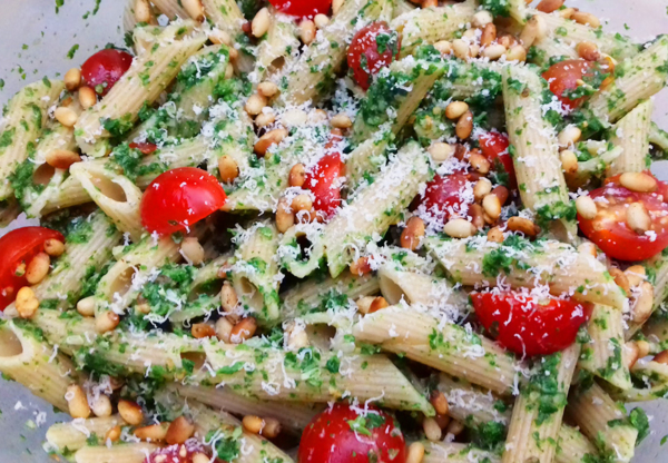 Nettle Pesto Pasta with Cherry Tomatoes