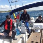 Ian at the helm with Fiona and Andy