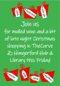 Mulled wine and late-night shopping at the Hungerford Hub during the Extravaganza @ Hungerford Library and Hub | England | United Kingdom