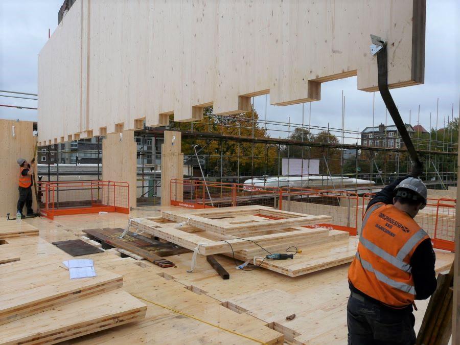 Lowering CLT cross laminated timber panels