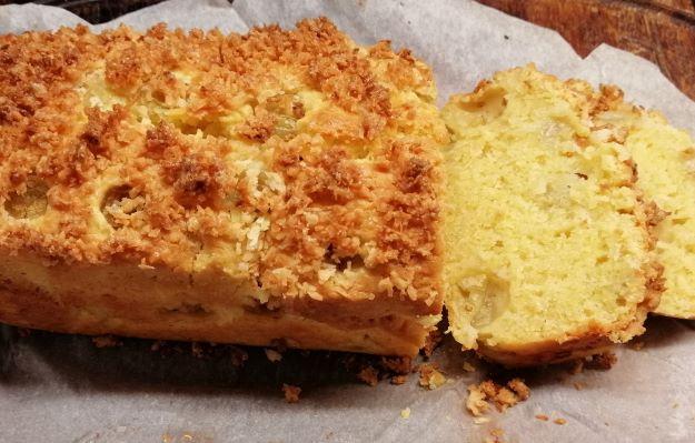 Gooseberry & coconut cake