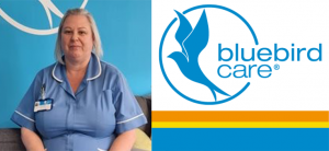 Bluebird logo & Niki deaf carer