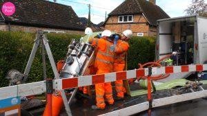 Thames Water sewage pipe liner & machine